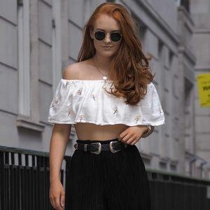 Zara Embroidered Off Shoulder Crop Top - XS NWT